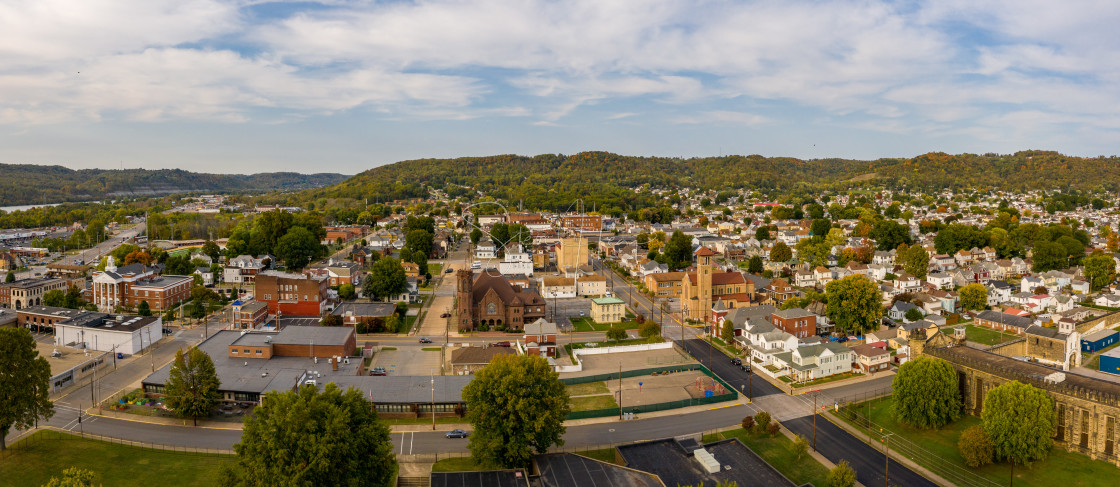 """""""Aerial panorama of the city of Moundsville in West Virginia"""" stock image"""