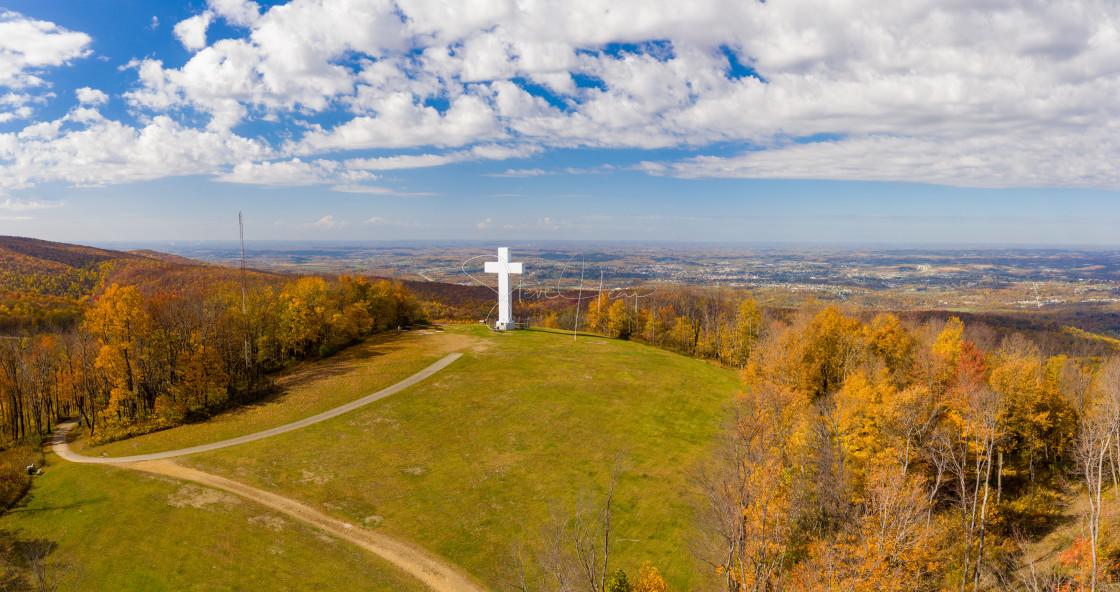 """Great Cross of Christ in Jumonville near Uniontown, Pennsylvania"" stock image"
