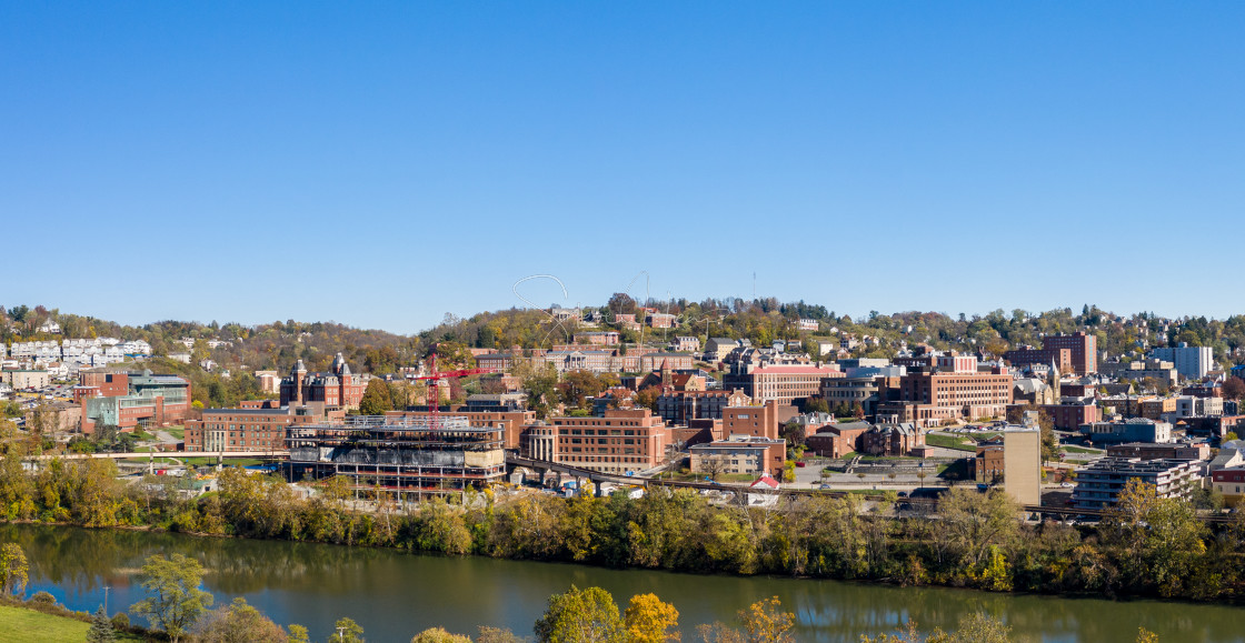 """""""Aerial drone panorama of the downtown campus and buildings of the university..."""" stock image"""