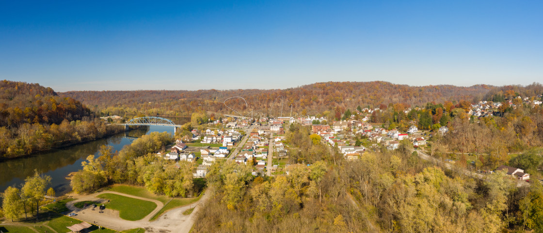 """""""Aerial drone panorama of the downtown area of Point Marion in Pennsylvania"""" stock image"""