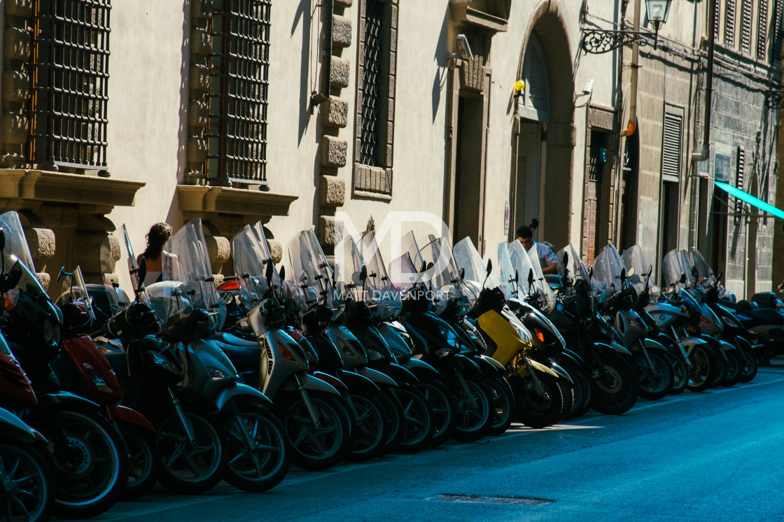 """A row of mopeds in Florence"" stock image"