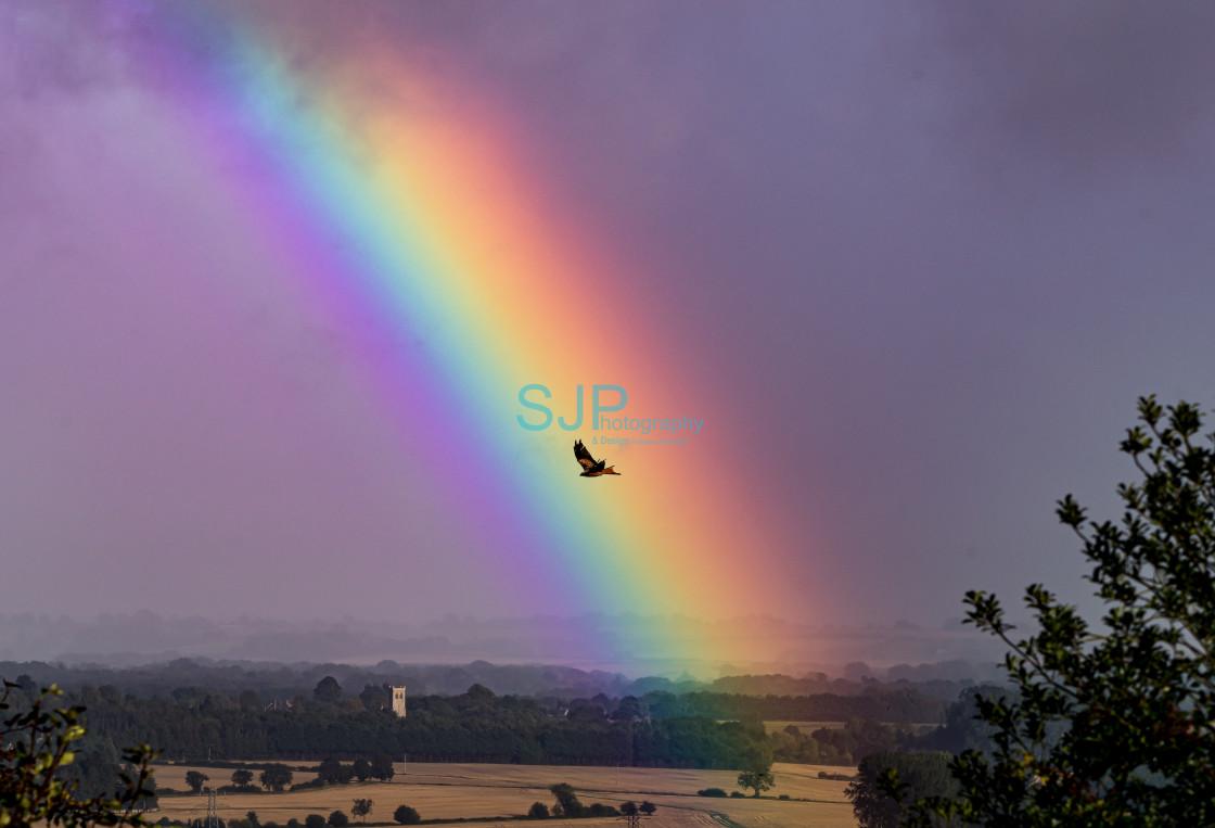 """Rainbow Red Kite Landscape"" stock image"