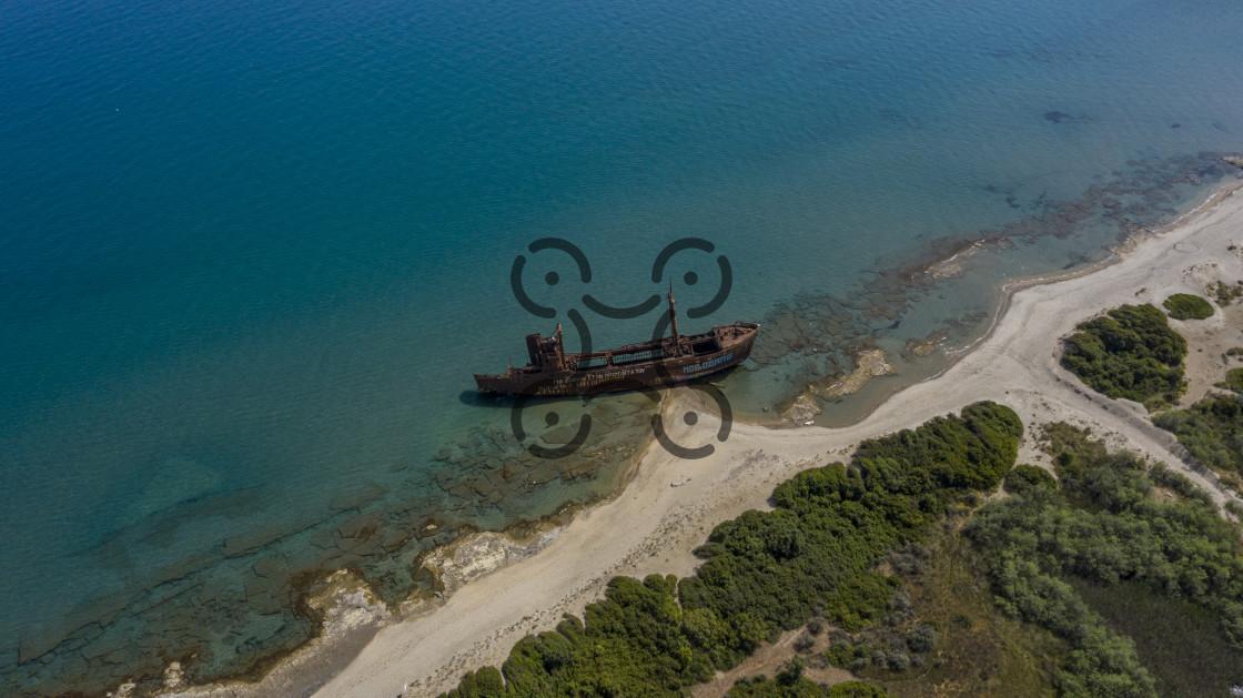 """Gythio Dimitrios Shipwreck"" stock image"