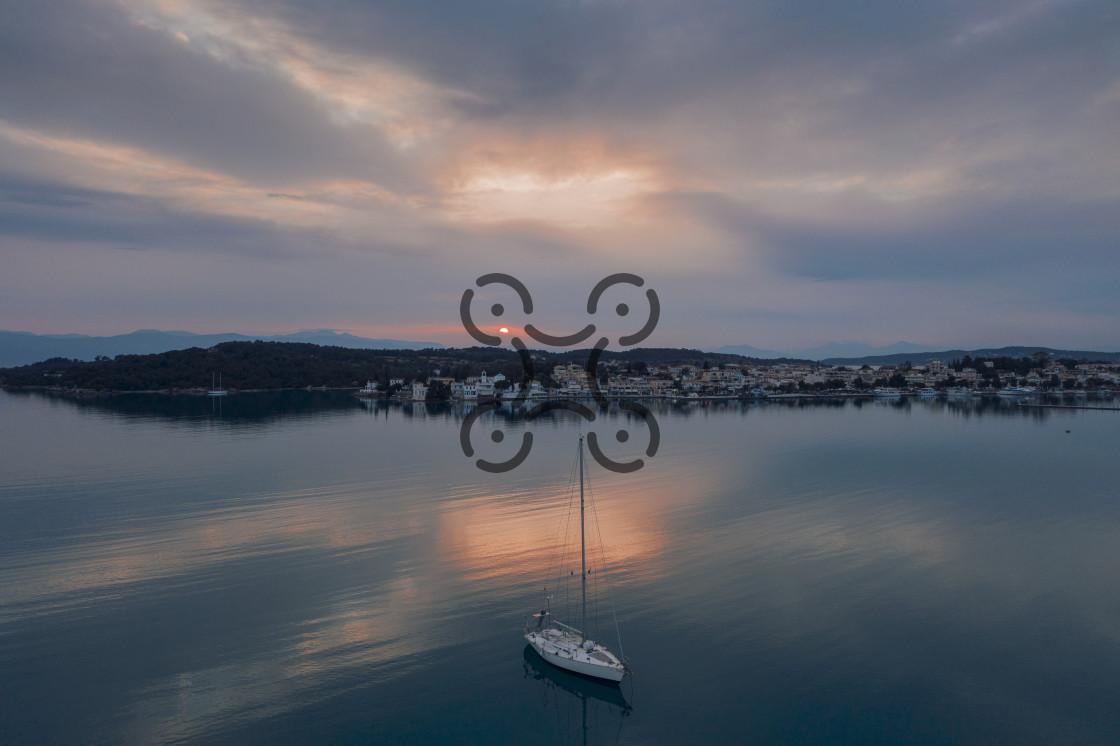 """Sunset at Porto Cheli"" stock image"