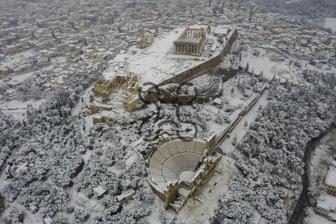"""Snowed Acropolis - Athens Greece"" stock image"