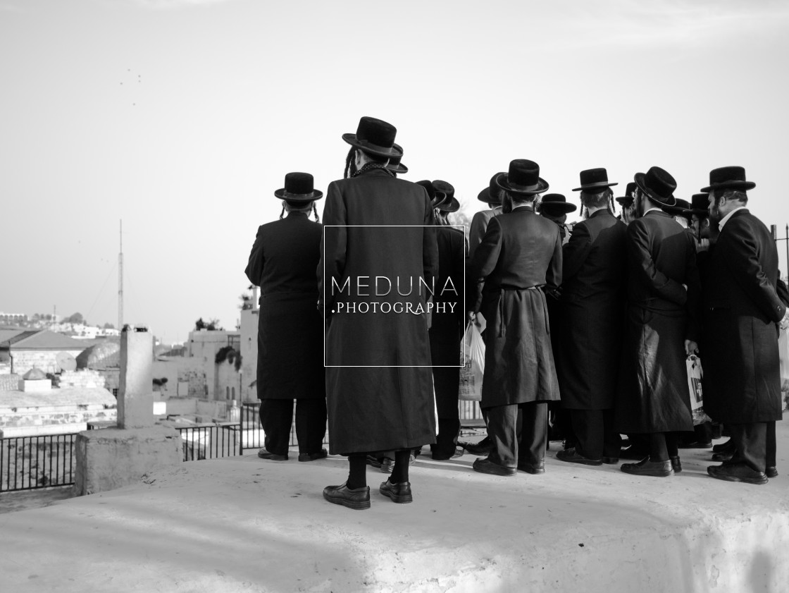 """Hasidic group in Jerusalem"" stock image"