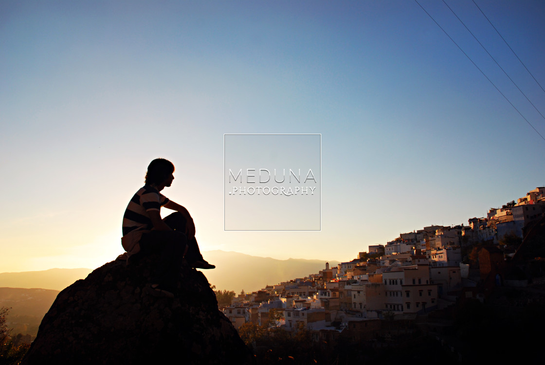 """""""Andrés and sunset"""" stock image"""