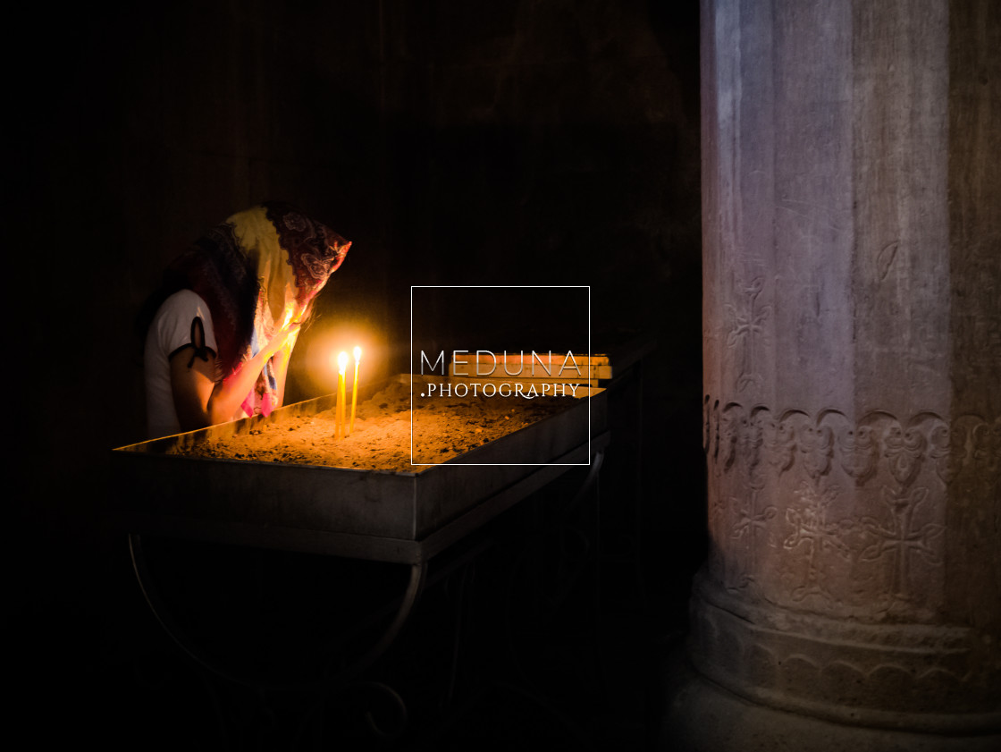 """A prayer in the monastery"" stock image"