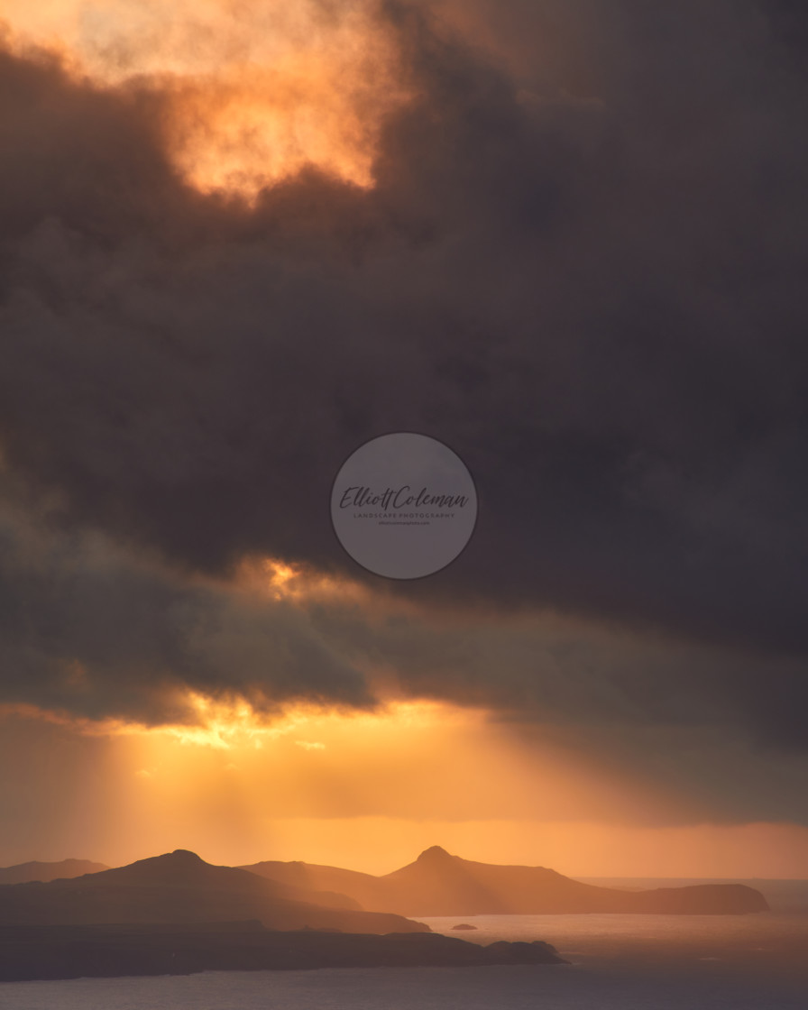 """The Golden Peaks of St. Davids Head"" stock image"