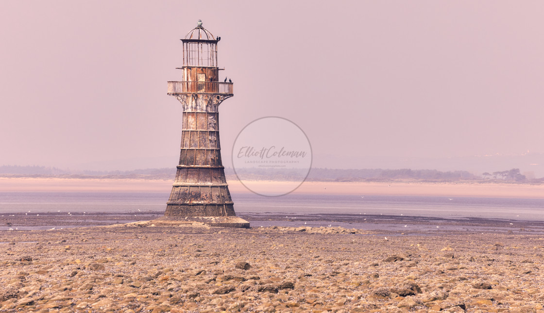 """Whiteford Point Lighthouse in Pink"" stock image"
