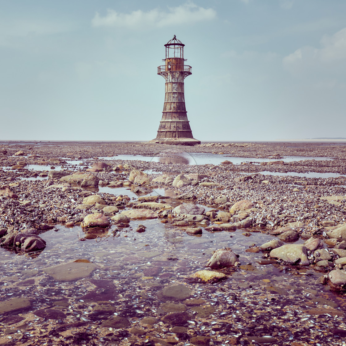 """Whiteford Point Lighthouse Pastel Hues"" stock image"