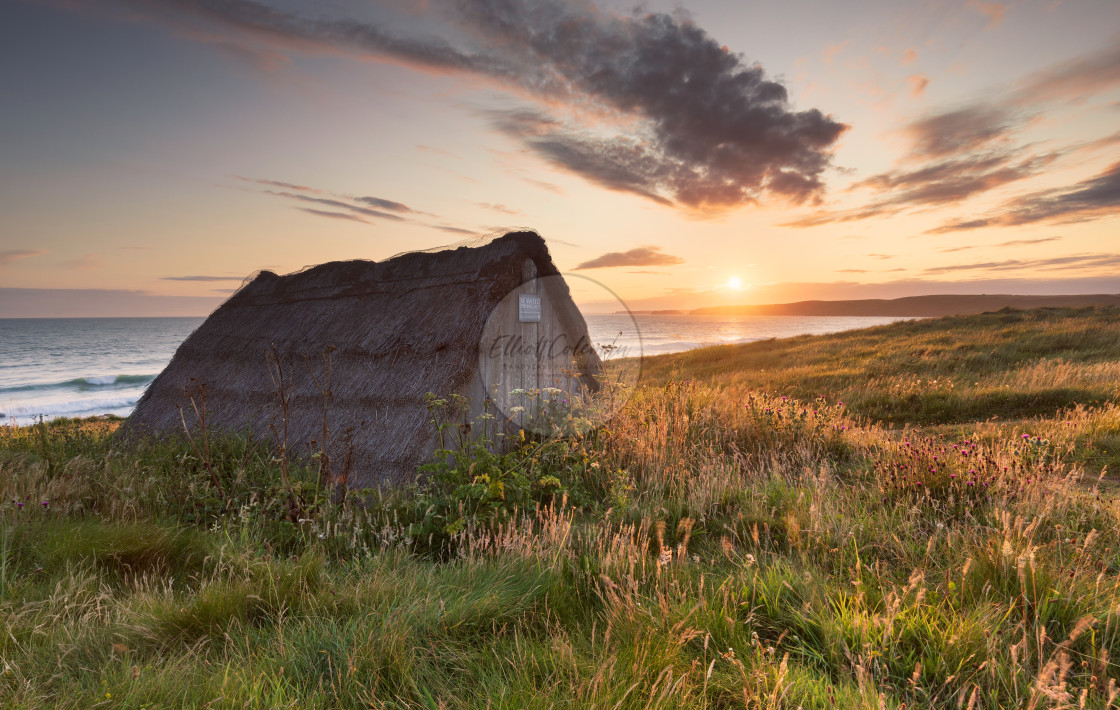 """The Seaweed Drying Hut - Freshwater West"" stock image"