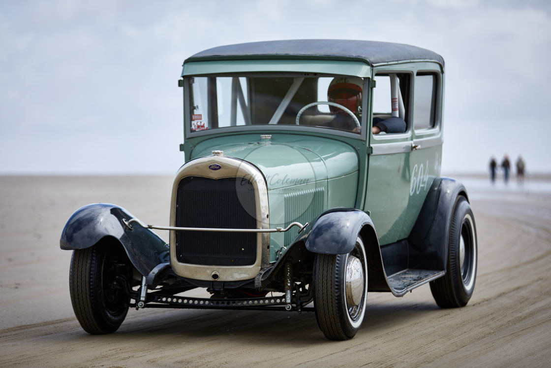 """Green Ford on Beach at Pendine"" stock image"