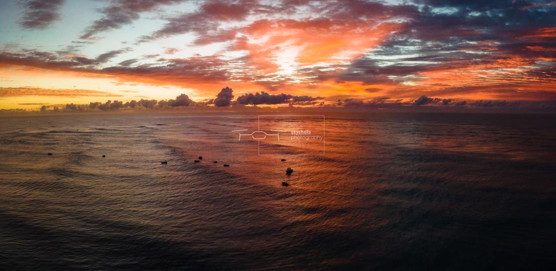 """""""Sunrise - Gold Coast Sea Wall"""" stock image"""