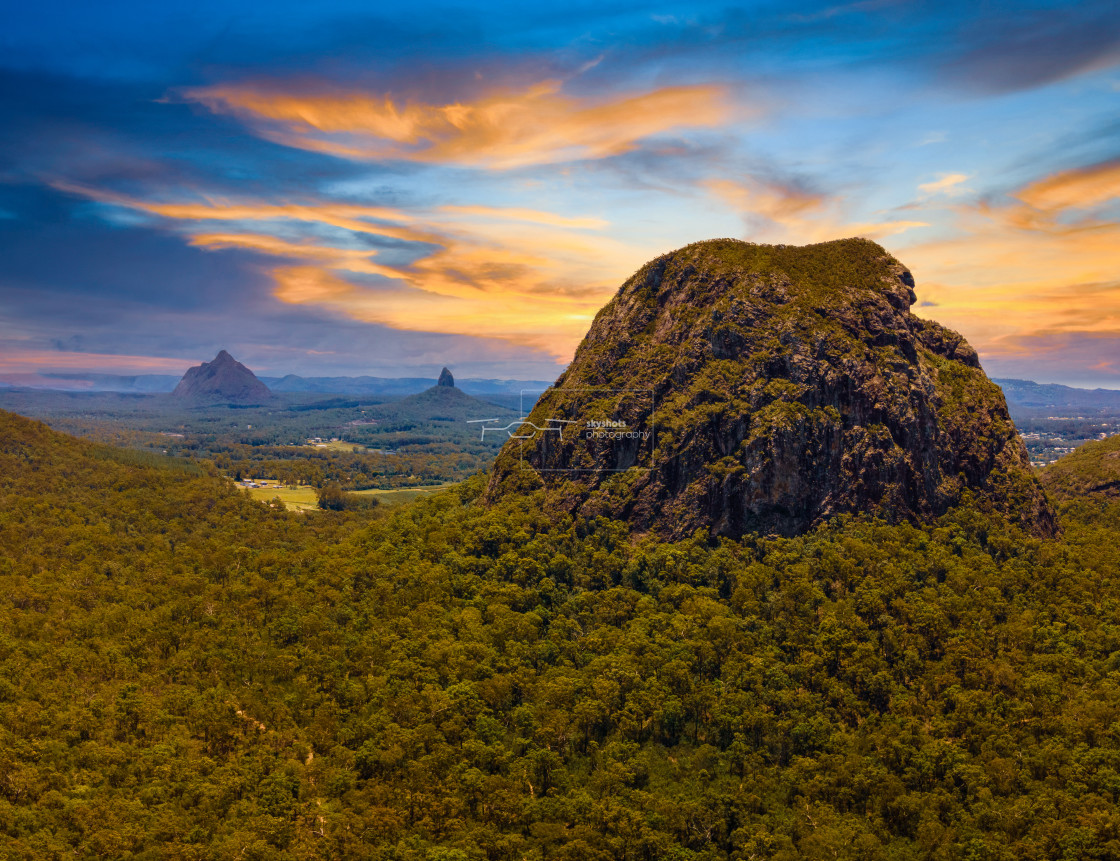 """Glasshouse Mountains"" stock image"