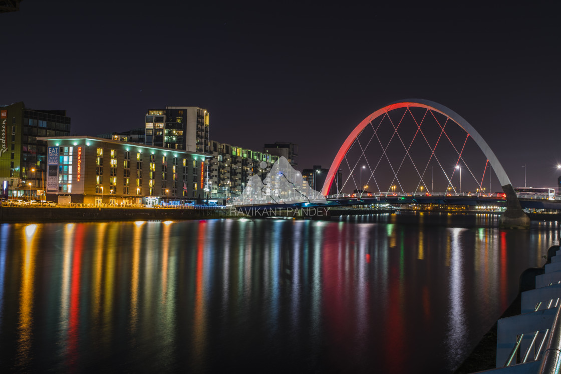 """""""Clyde Arc and River, Glasgow - Scotland"""" stock image"""