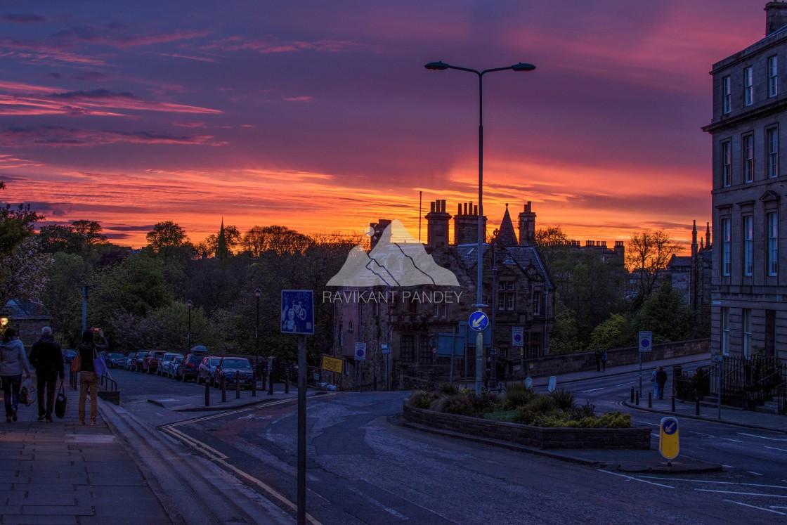 """""""Sunset over Dean Bridge in Edinburgh"""" stock image"""