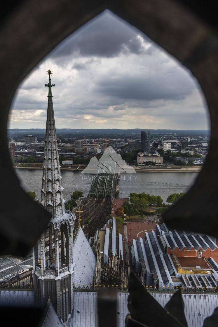"""Hohenzollern Bridge over River Rhine, Cologne - Germany"" stock image"