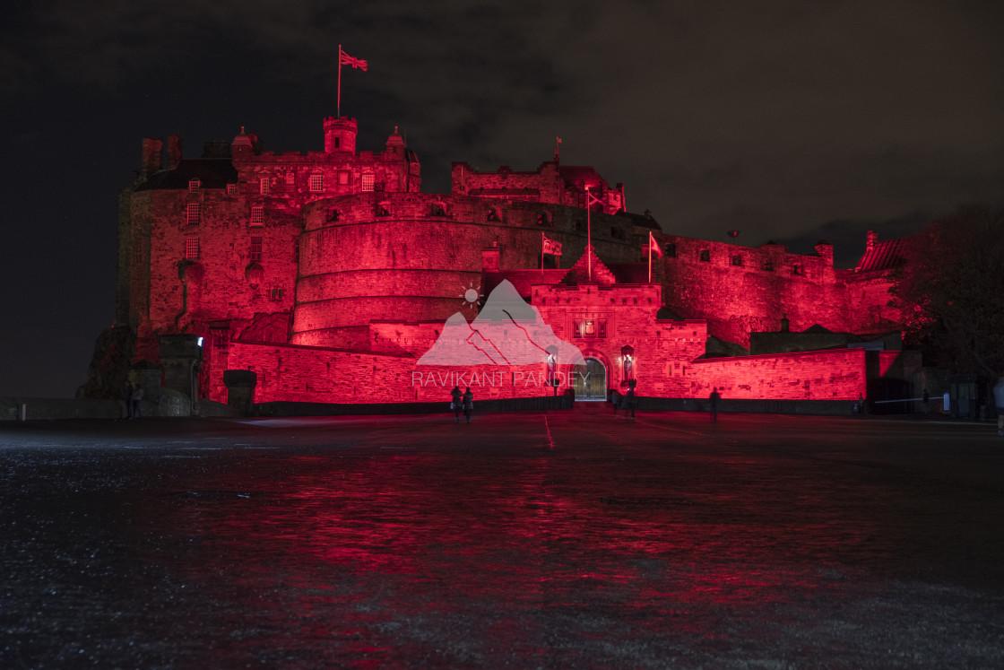 """Edinburgh Castle Illuminated In red, Scotland"" stock image"