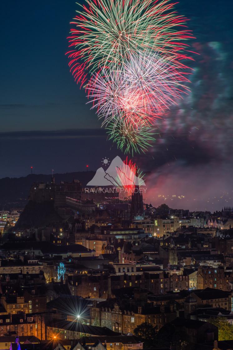 """Fireworks over Edinburgh Castle and City, Scotland"" stock image"