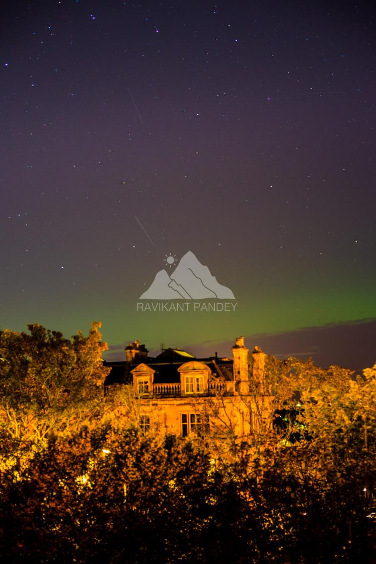 """NORTHERN LIGHTS IN EDINBURGH, SCOTLAND"" stock image"