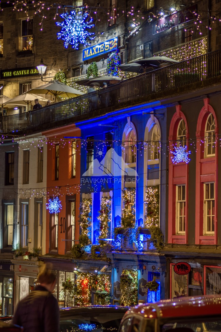 """Victoria Street in Christmas, Edinburgh - Scotland"" stock image"