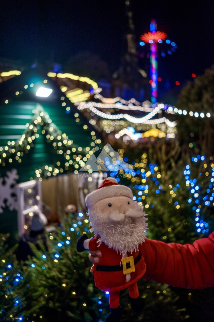 """Santa at Santa Land in Edinburgh Christmas Market, Scotland"" stock image"
