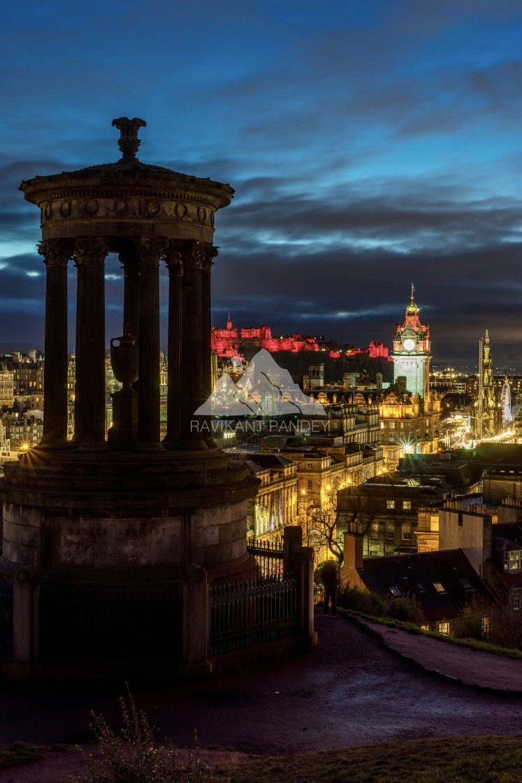 """Signature view of Edinburgh City as seen from Calton Hill, Edinburgh"" stock image"