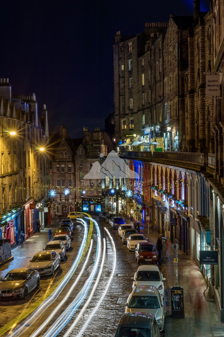 """Victoria Street in best time of the year looks amazing by night, Edinburgh"" stock image"