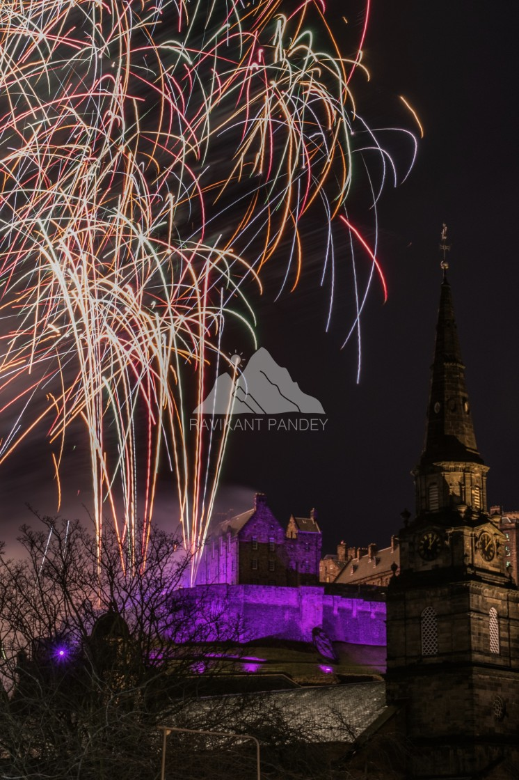 """Fireworks Display over Edinburgh Castle on New Year Eve, Scotland"" stock image"