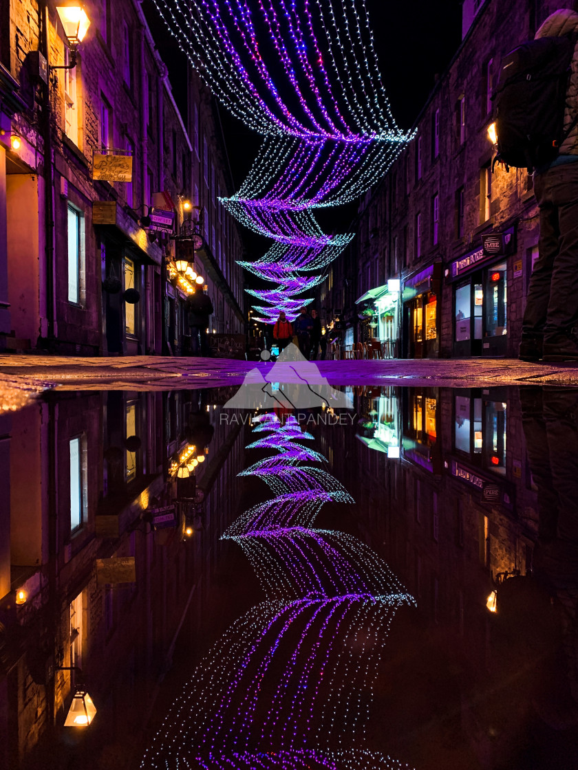 """Rose Street Edinburgh by night with beautiful Christmas light reflection, Scotland"" stock image"