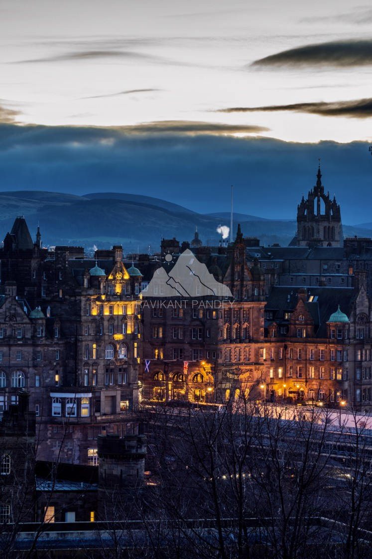 """Edinburgh Old Town from Calton Hill in twilight hours, Scotland"" stock image"