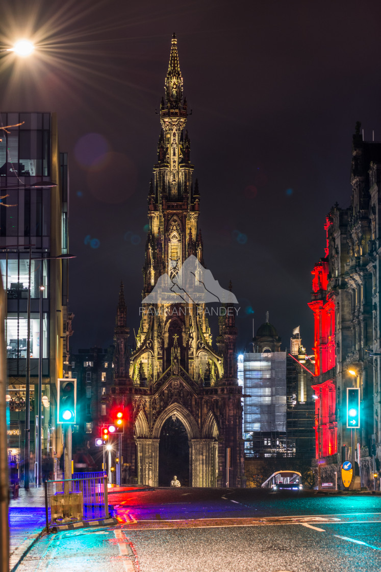 """The Scott Monument by night, Edinburgh - Scotland"" stock image"
