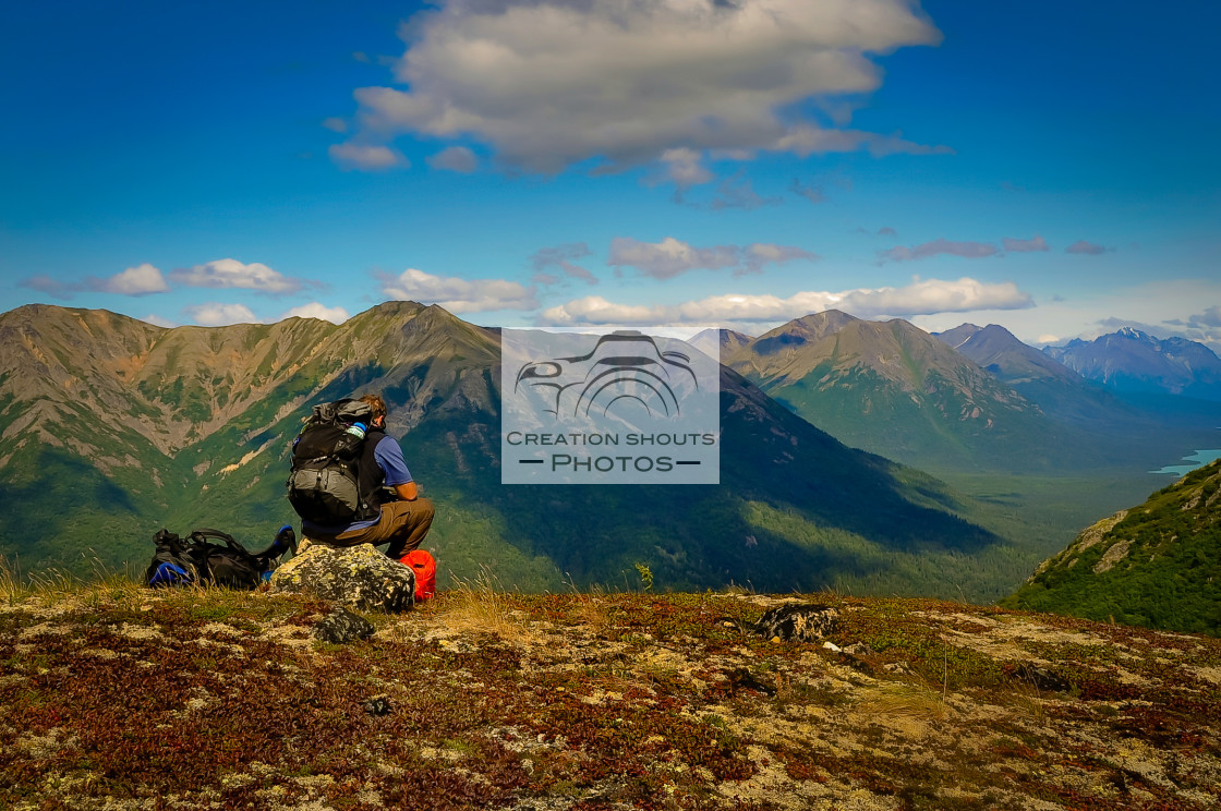 """Hiking in Lake Clark National Park, Alaska"" stock image"