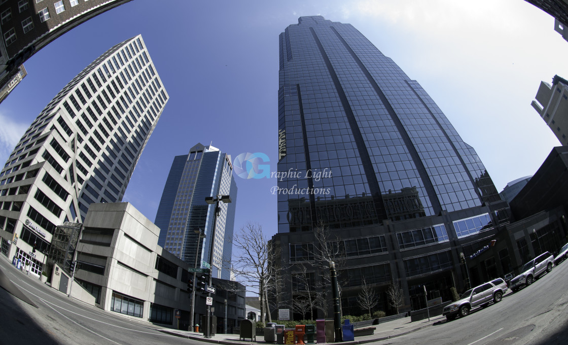 """Buildings through a fisheye perspective"" stock image"