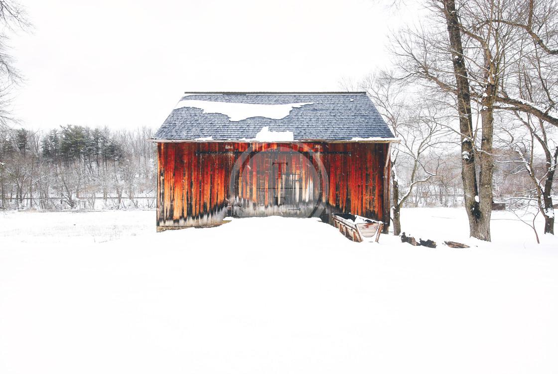 """Rustic winter barn"" stock image"