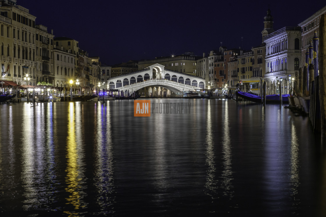 """Rialto Bridge at Night"" stock image"