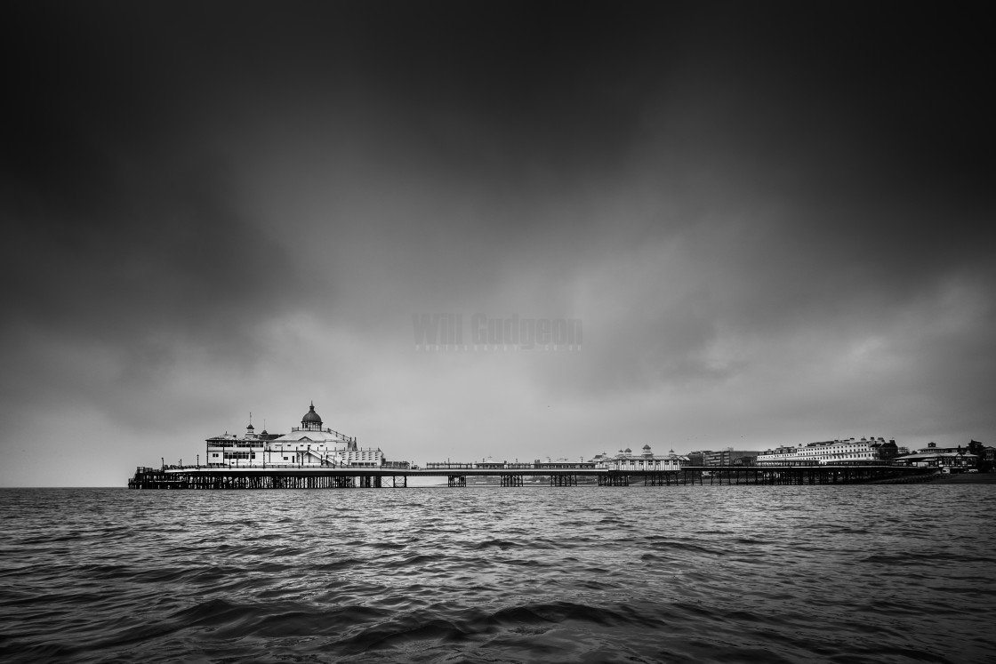 """""""Stormy day at Eastbourne Pier"""" stock image"""