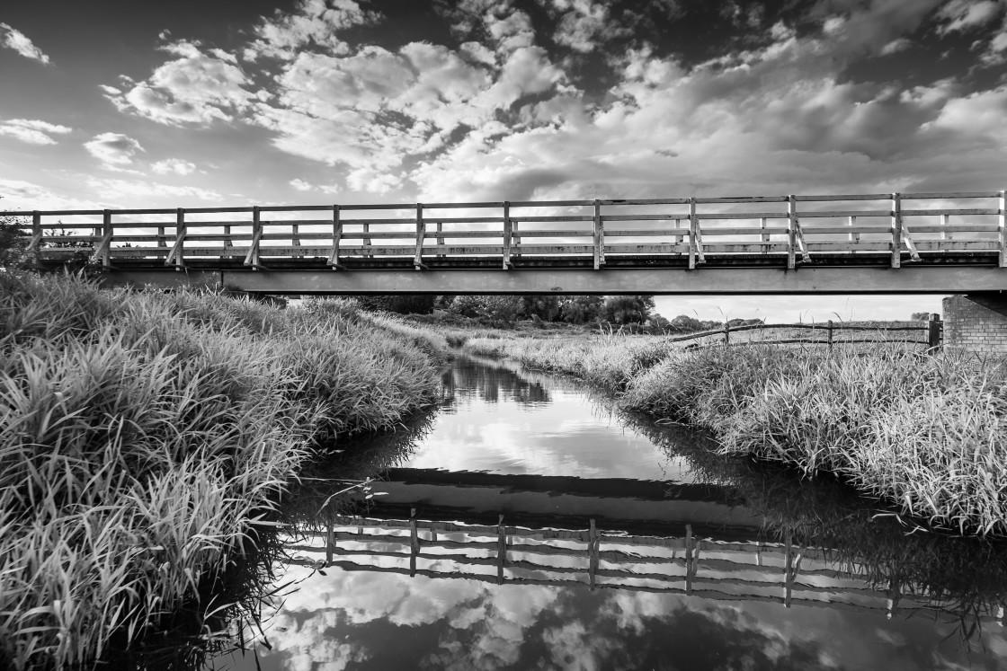 """""""The white bridge over Cuckmere river."""" stock image"""