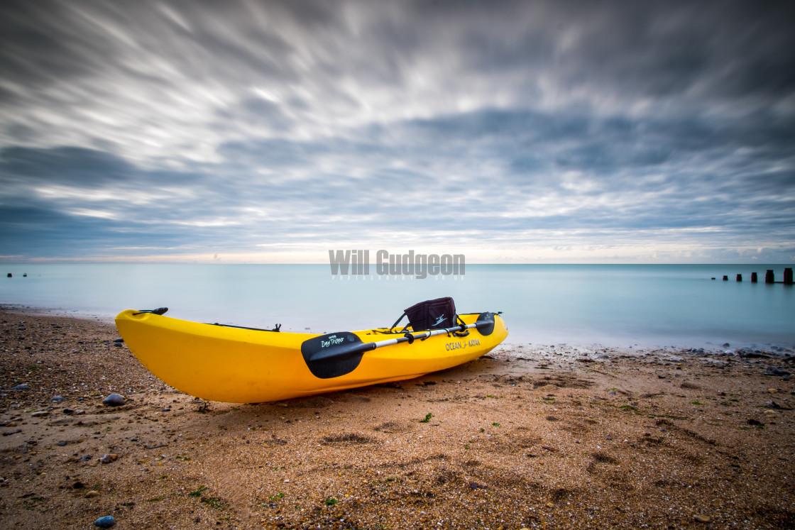 """Kayak on the beach"" stock image"