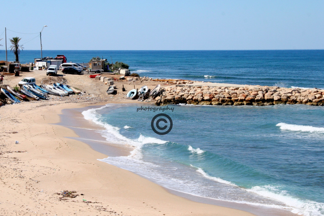 """Beach at Haifa"" stock image"