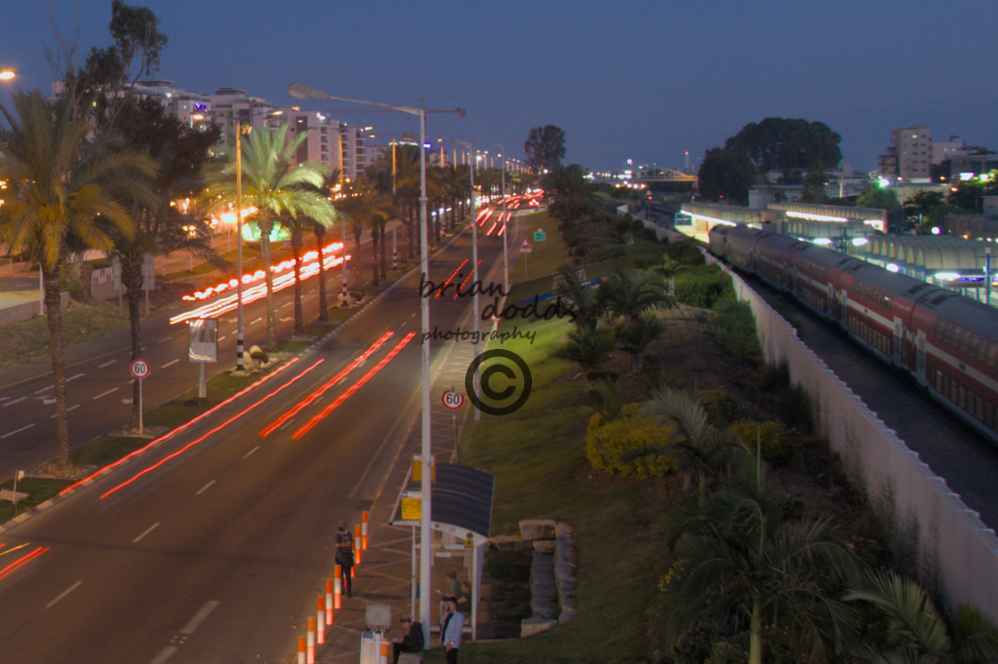 """""""Passing traffic leave light trails on Route 4."""" stock image"""