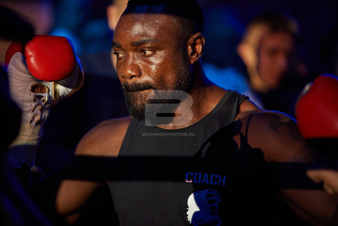 """Mateusz Masternak, Taylor Mabika, KBN 13, KnockOut Boxing Night 13, Tarnow, Poland, 2020"" stock image"
