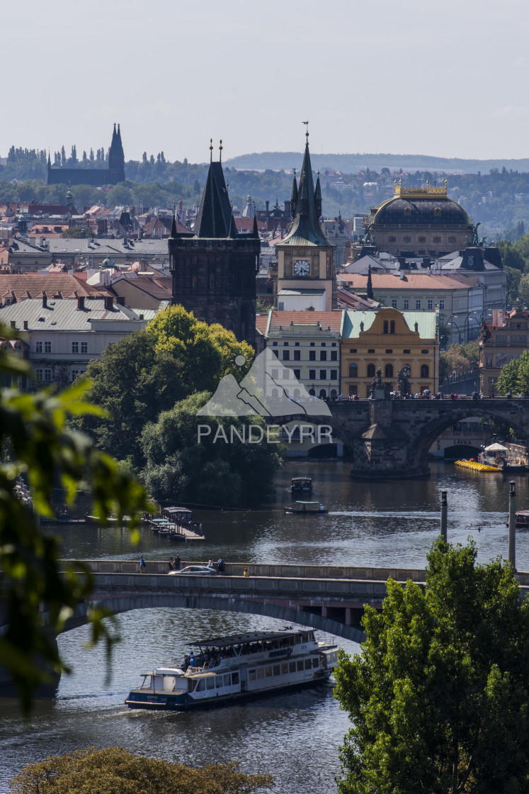 """Iconic Charles Bridge over Vltava river, Prague"" stock image"