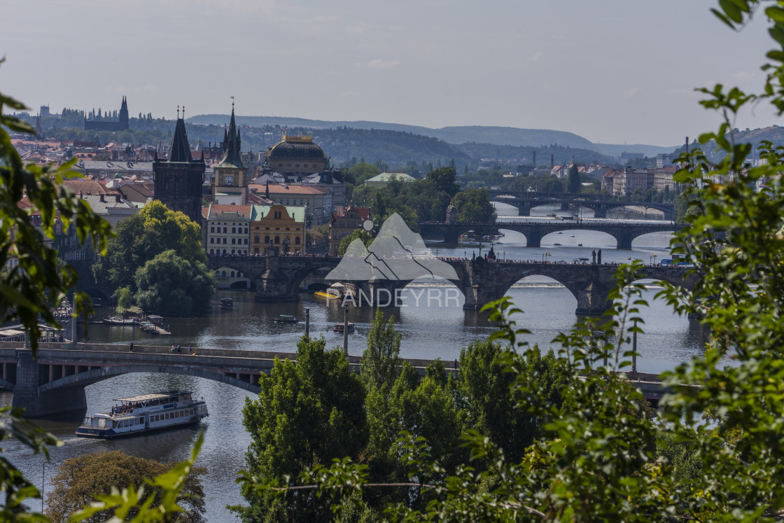 """Charles Bridge and other bridges over Vltava river, Prague - Czech Republic"" stock image"