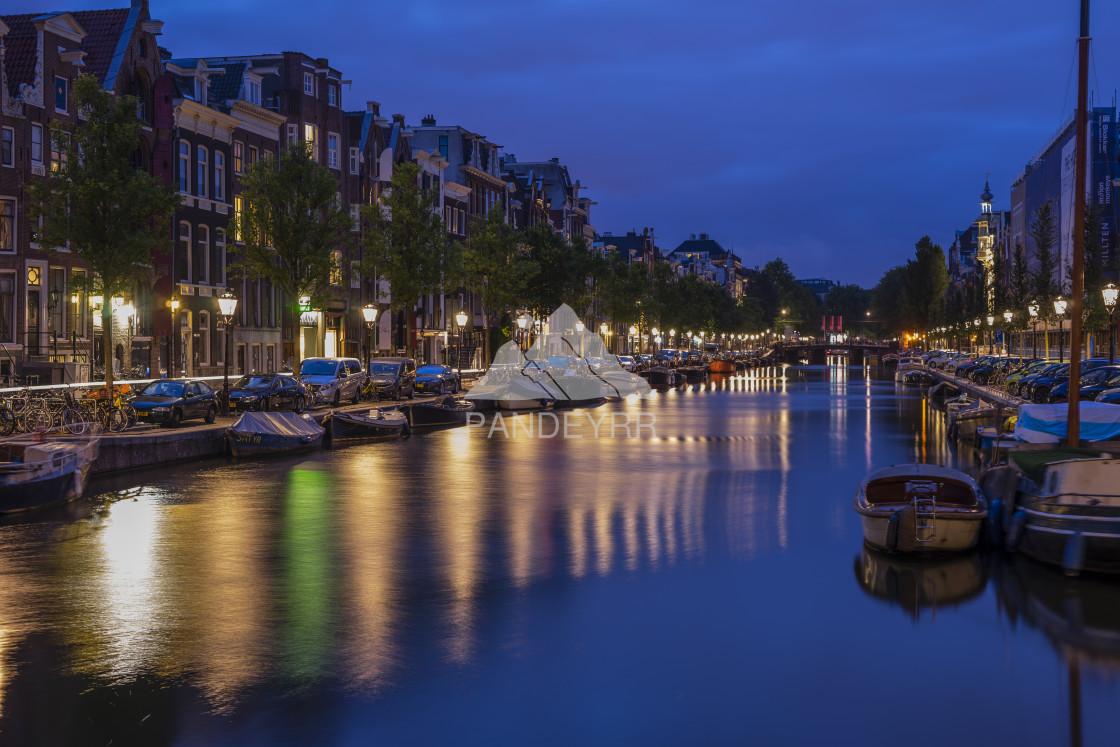 """Spiegelgracht, Amsterdam at night, Netherlands"" stock image"