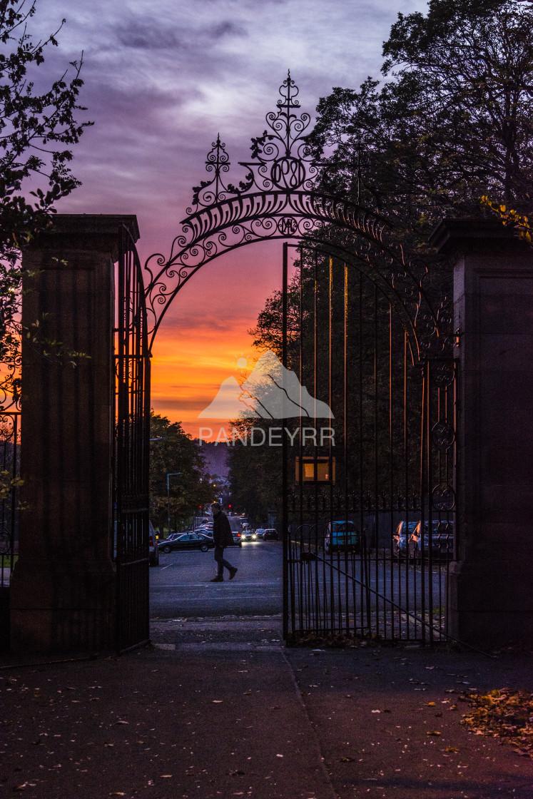"""Sunset, Inverleith Park - Edinburgh, Scotland"" stock image"