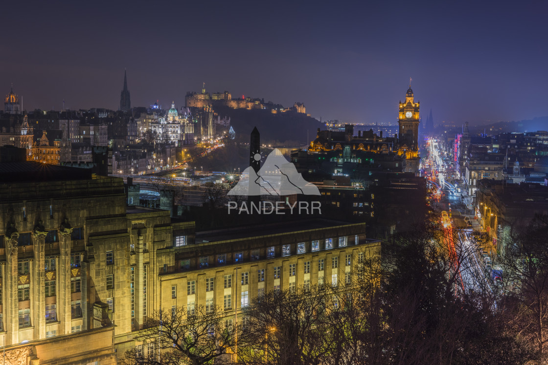 """""""Edinburgh's most photographed view and signature shot from Calton Hill as seen by night, Edinburgh - Scotland"""" stock image"""