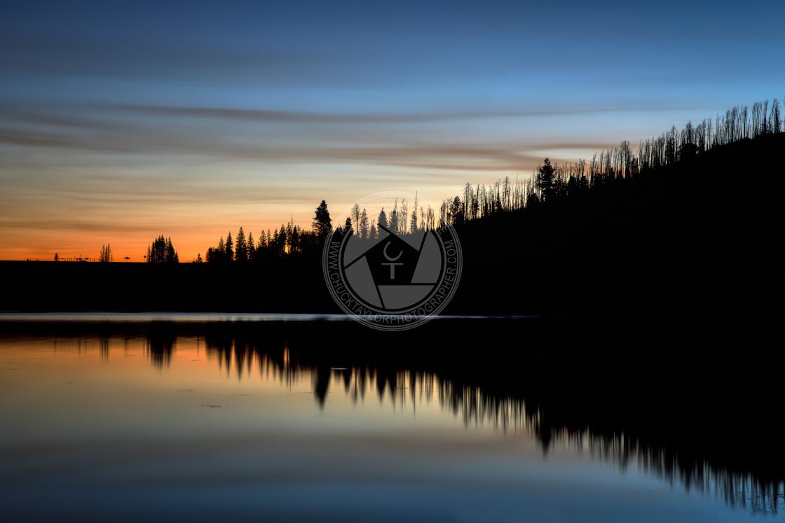 """""""sunrise-lake-arizona-mountains"""" stock image"""