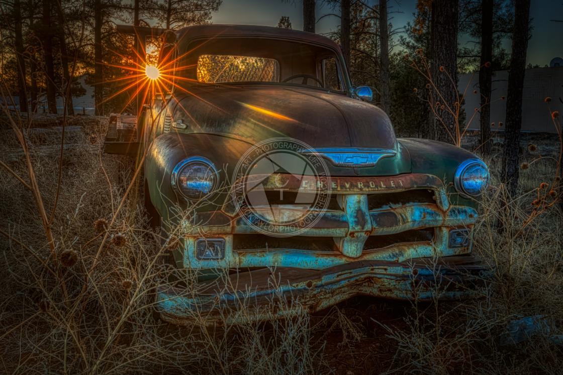 """""""chevrolet-chevy-abandoned-sunrise"""" stock image"""